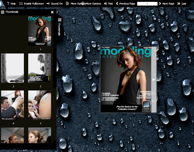 Flash flip book theme of Rain full screenshot
